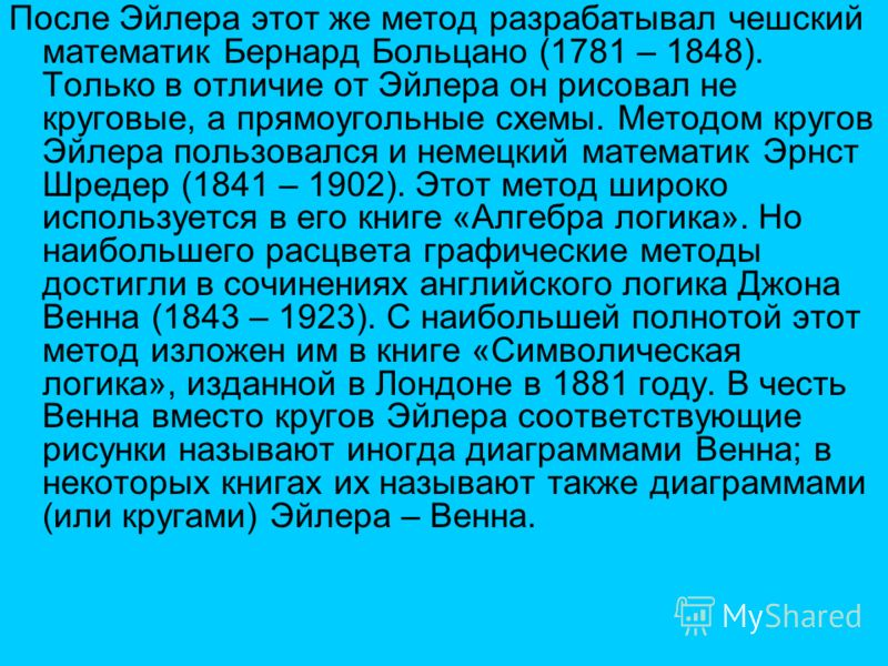 После Эйлера этот же метод разрабатывал чешский математик Бернард Больцано (1781 – 1848). Только в отличие от Эйлера он рисовал не круговые, а прямоугольные схемы. Методом кругов Эйлера пользовался и немецкий математик Эрнст Шредер (1841 – 1902). Это