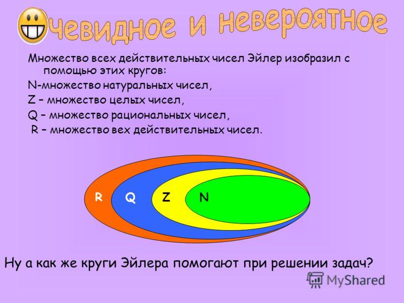 Множество всех действительных чисел Эйлер изобразил с помощью этих кругов: N-множество натуральных чисел, Z – множество целых чисел, Q – множество рациональных чисел, R – множество вех действительных чисел. Ну а как же круги Эйлера помогают при решен
