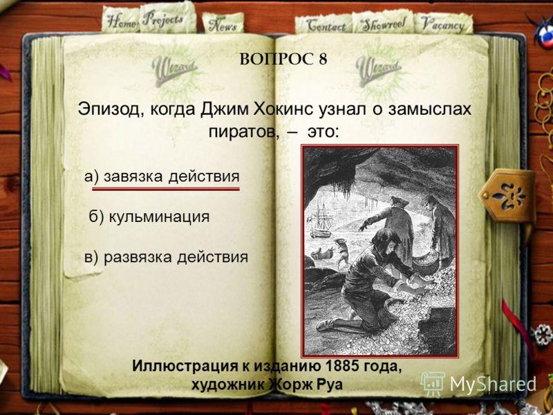 Эпизод, когда Джим Хокинс узнал о замыслах пиратов, – это: ВОПРОС 8 а) завязка действия б) кульминация в) развязка действия Иллюстрация к изданию 1885 года, художник Жорж Руа