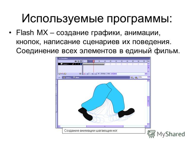 Используемые программы: Flash MX – создание графики, анимации, кнопок, написание сценариев их поведения. Соединение всех элементов в единый фильм. Создание анимации шагающих ног.