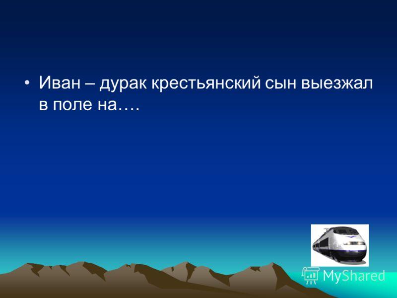 Иван – дурак крестьянский сын выезжал в поле на….