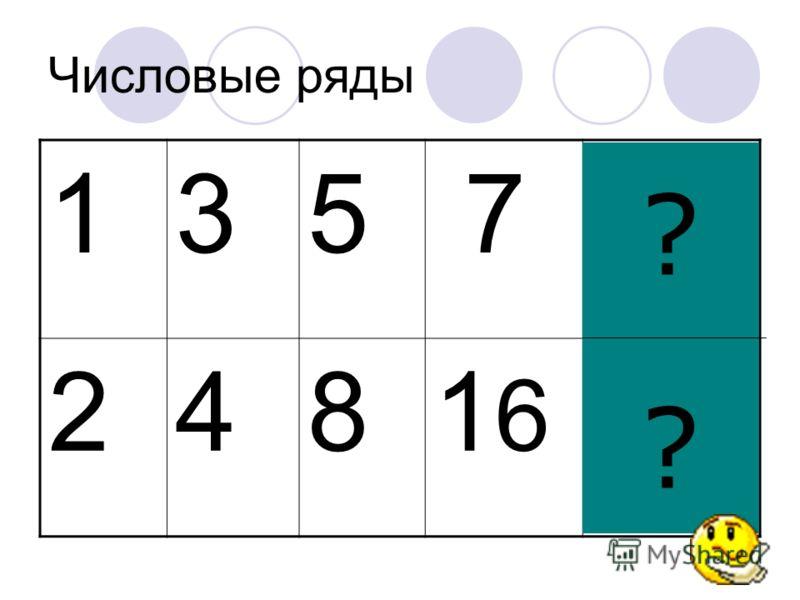 Числовые ряды 135 7 9 2481616 32 ????