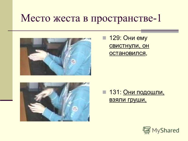 Место жеста в пространстве-1 129: Они ему свистнули, он остановился, 131: Они подошли, взяли груши,
