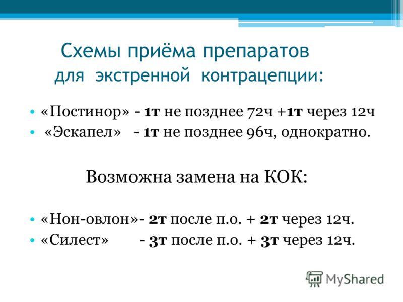 Схемы приёма препаратов для экстренной контрацепции: «Постинор» - 1т не позднее 72ч +1т через 12ч «Эскапел» - 1т не позднее 96ч, однократно. Возможна замена на КОК: «Нон-овлон»- 2т после п.о. + 2т через 12ч. «Силест» - 3т после п.о. + 3т через 12ч.