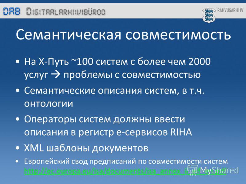 Семантическая совместимость На Х-Путь ~100 систем с более чем 2000 услуг проблемы с совместимостью Cемантические описания систем, в т.ч. oнтологии Операторы систем должны ввести описания в регистр е-сервисов RIHA XML шаблоны документов Европейский св