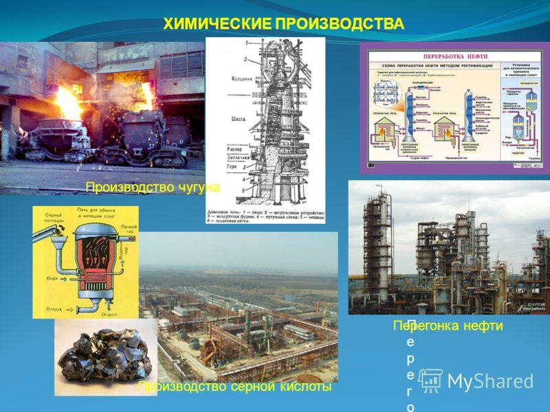 ХИМИЧЕСКИЕ ПРОИЗВОДСТВА Производство чугуна Производство серной кислоты ПерегонкПерегонк Перегонка нефти