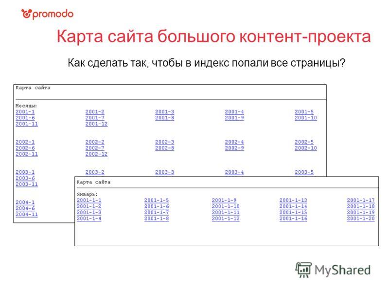 Карта сайта большого контент-проекта Как сделать так, чтобы в индекс попали все страницы?