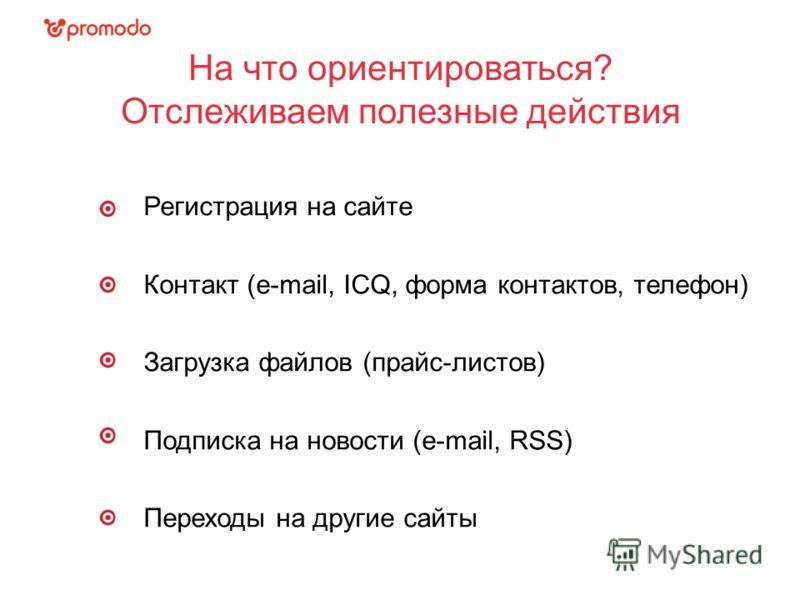 12.04.11 На что ориентироваться? Отслеживаем полезные действия Регистрация на сайте Контакт (e-mail, ICQ, форма контактов, телефон) Загрузка файлов (прайс-листов) Подписка на новости (e-mail, RSS) Переходы на другие сайты