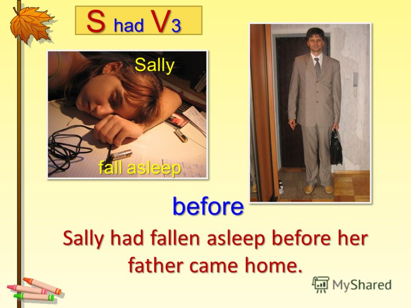 Sally had fallen asleep before her father came home. Sally fall asleep fall asleep before Shad V3V3V3V3