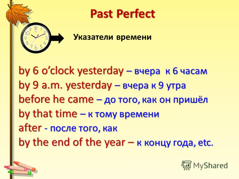 by 6 oclock yesterday – вчера к 6 часам by 9 a.m. yesterday – вчера к 9 утра before he came – до того, как он пришёл by that time – к тому времени after - после того, как by the end of the year – к концу года, etc. Указатели времени Past Perfect