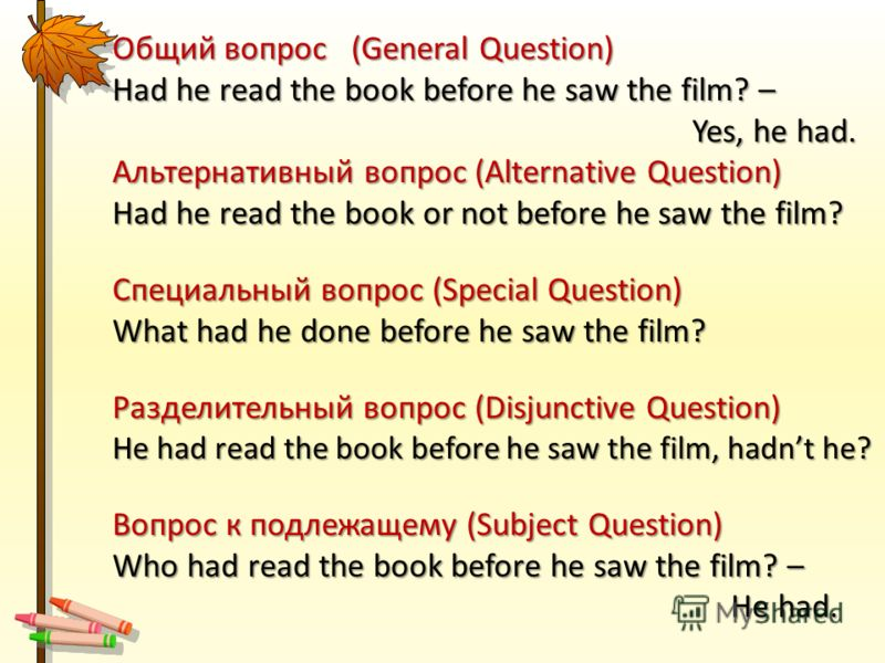 Общий вопрос (General Question) Had he read the book before he saw the film? – Yes, he had. Yes, he had. Альтернативный вопрос (Alternative Question) Had he read the book or not before he saw the film? Специальный вопрос (Special Question) What had h