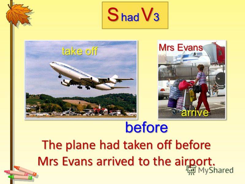 The plane had taken off before Mrs Evans arrived to the airport. take off arrive arrive before Mrs Evans Mrs Evans Shad V3V3V3V3