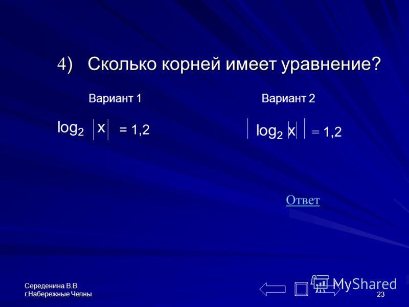 Середенина В.В. г.Набережные Челны 22 1) Сравни с 1 log 1099 1098 2) Сравни с 1 log 296 297 меньше 1 больше 1 3) 3) Графики уравнений отличаются или совпадают? Ответ: отличаются В ОДЗ 1-го уравнения не входит точка х=0, (точка «выколота»). x y x y От