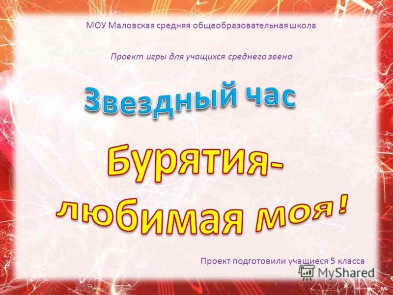 МОУ Маловская средняя общеобразовательная школа Проект игры для учащихся среднего звена Проект подготовили учащиеся 5 класса