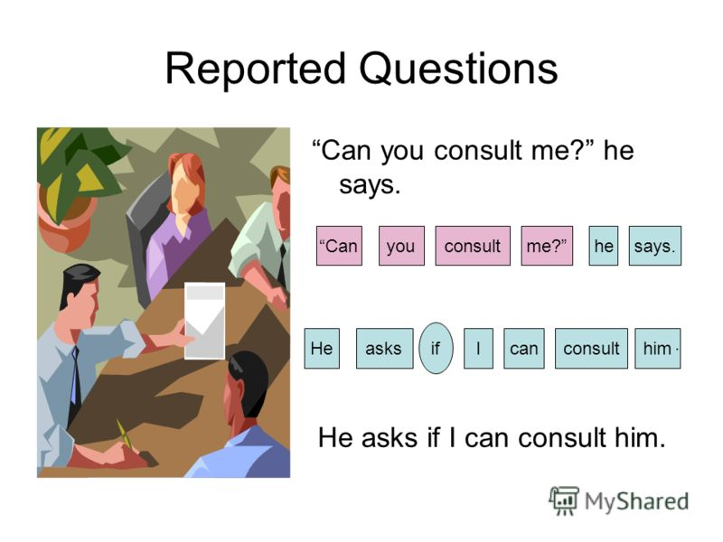 Reported Questions Can you consult me? he says. consultCanme?says.youhe HecanIhimasksconsult if. He asks if I can consult him.