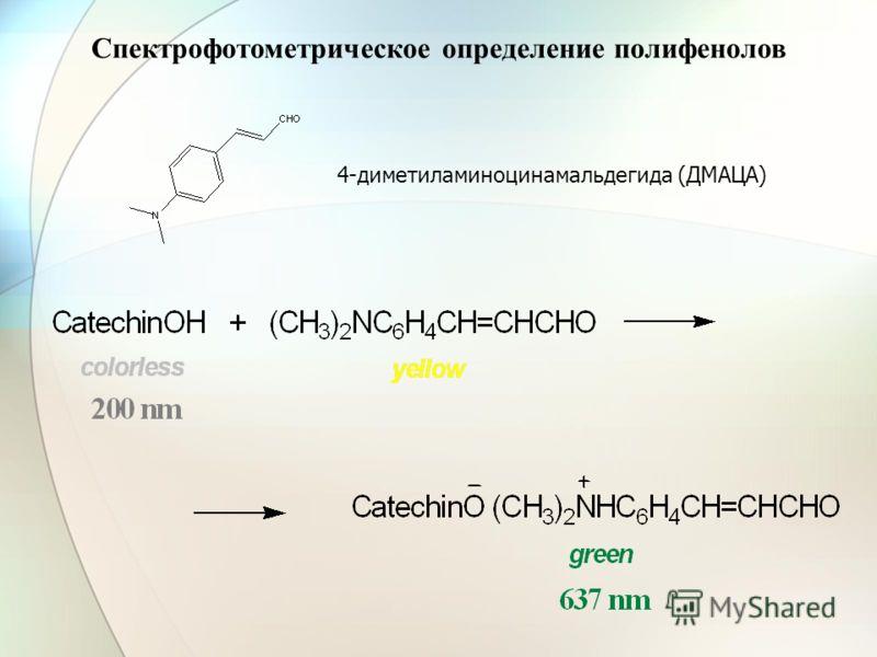 4-диметиламиноцинамальдегида (ДМАЦА) Спектрофотометрическое определение полифенолов