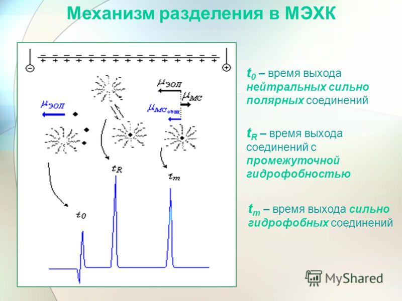 t 0 – время выхода нейтральных сильно полярных соединений t R – время выхода соединений с промежуточной гидрофобностью t m – время выхода сильно гидрофобных соединений Механизм разделения в МЭХК