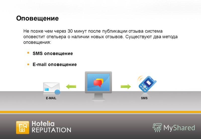 Оповещение Не позже чем через 30 минут после публикации отзыва система оповестит отельера о наличии новых отзывов. Существуют два метода оповещения: SMS оповещение E-mail оповещение SMSE-MAIL