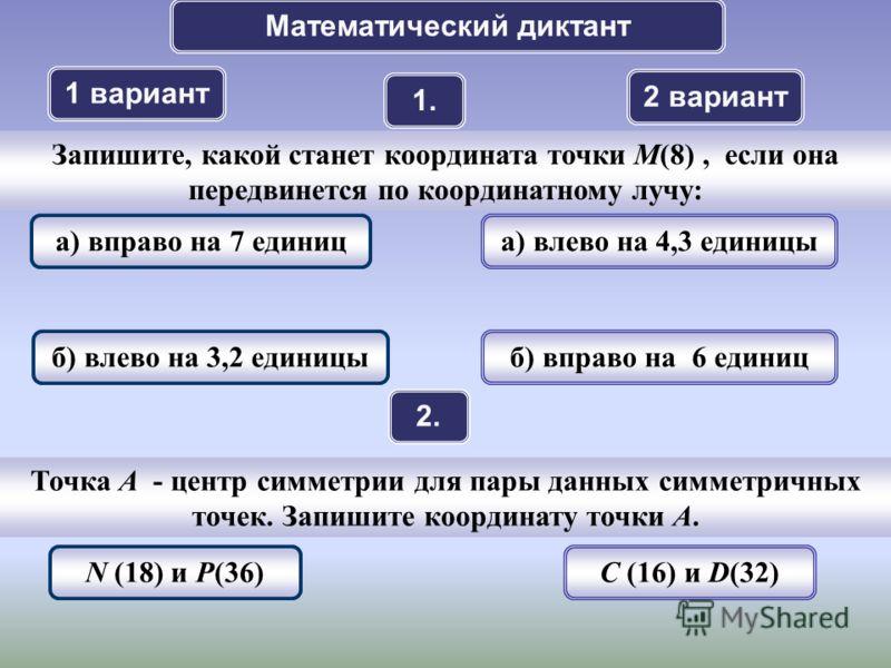 Математический диктант 1 вариант 2 вариант 1. 2.2. Точка A - центр симметрии для пары данных симметричных точек. Запишите координату точки А. N (18) и P(36)C (16) и D(32) Запишите, какой станет координата точки M(8), если она передвинется по координа