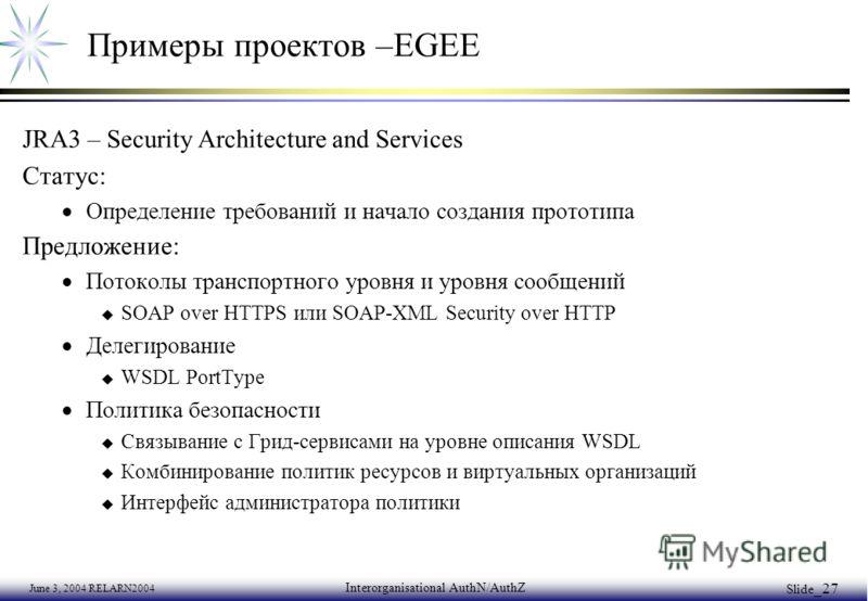 June 3, 2004 RELARN2004 Interorganisational AuthN/AuthZ Slide _27 Примеры проектов –EGEE JRA3 – Security Architecture and Services Статус: Определение требований и начало создания прототипа Предложение: Потоколы транспортного уровня и уровня сообщени