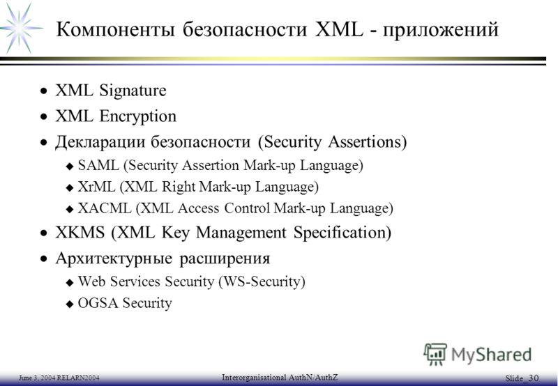 June 3, 2004 RELARN2004 Interorganisational AuthN/AuthZ Slide _30 Компоненты безопасности XML - приложений XML Signature XML Encryption Декларации безопасности (Security Assertions) u SAML (Security Assertion Mark-up Language) u XrML (XML Right Mark-