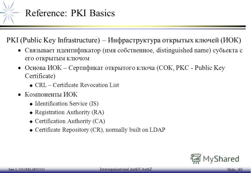 June 3, 2004 RELARN2004 Interorganisational AuthN/AuthZ Slide _40 Reference: PKI Basics PKI (Public Key Infrastructure) – Инфраструктура открытых ключей (ИОК) Связывает идентификатор (имя собственное, distinguished name) субьекта с его открытым ключо