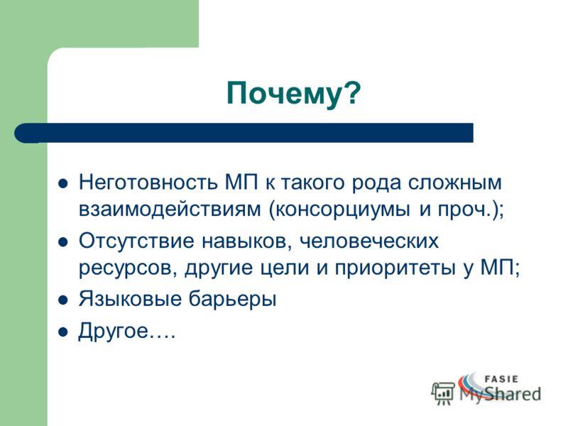 Почему? Неготовность МП к такого рода сложным взаимодействиям (консорциумы и проч.); Отсутствие навыков, человеческих ресурсов, другие цели и приоритеты у МП; Языковые барьеры Другое….