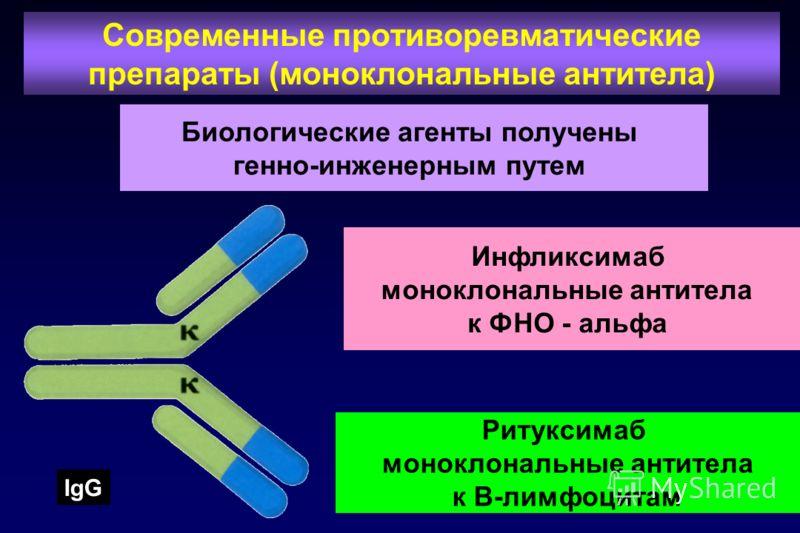 32 Биологические агенты получены генно-инженерным путем Современные противоревматические препараты (моноклональные антитела) Инфликсимаб моноклональные антитела к ФНО - альфа Ритуксимаб моноклональные антитела к В-лимфоцитам IgG