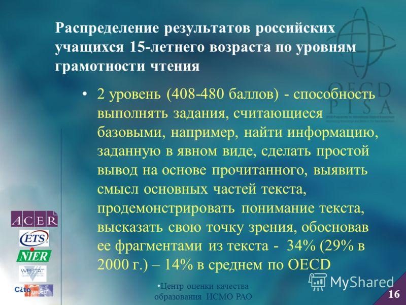 16 Центр оценки качества образования ИСМО РАО Распределение результатов российских учащихся 15-летнего возраста по уровням грамотности чтения 2 уровень (408-480 баллов) - способность выполнять задания, считающиеся базовыми, например, найти информацию