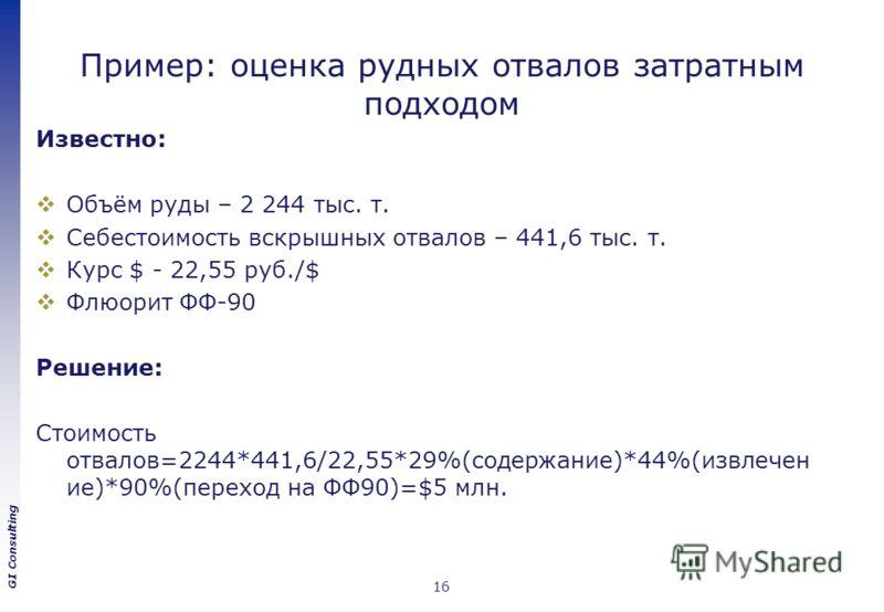 GI Consulting Пример: оценка рудных отвалов затратным подходом Известно: Объём руды – 2 244 тыс. т. Себестоимость вскрышных отвалов – 441,6 тыс. т. Курс $ - 22,55 руб./$ Флюорит ФФ-90 Решение: Стоимость отвалов=2244*441,6/22,55*29%(содержание)*44%(из