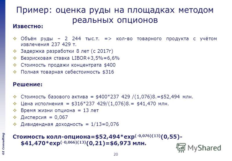 GI Consulting Пример: оценка руды на площадках методом реальных опционов Известно: Объём руды – 2 244 тыс.т. => кол-во товарного продукта с учётом извлечения 237 429 т. Задержка разработки 8 лет (с 2017г) Безрисковая ставка LIBOR+3,5%=6,6% Стоимость