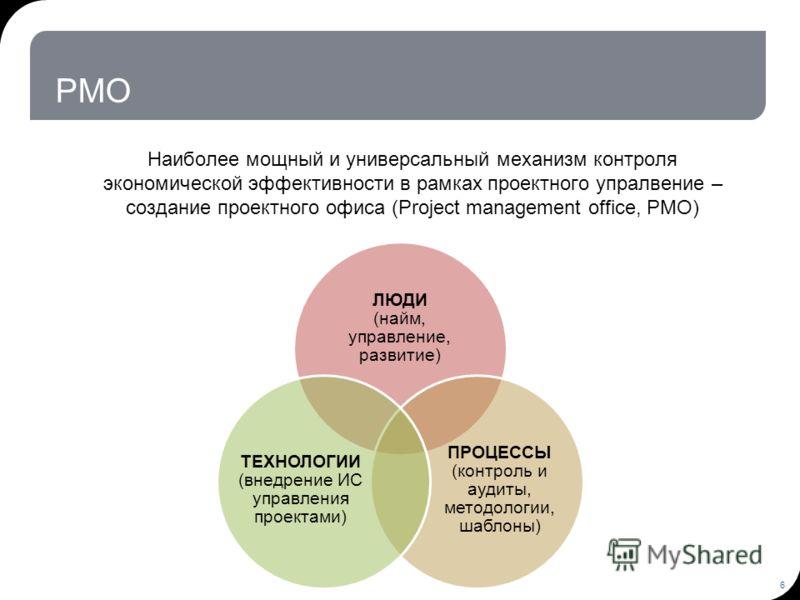 PMO Наиболее мощный и универсальный механизм контроля экономической эффективности в рамках проектного упралвение – создание проектного офиса (Project management office, PMO) 6 ЛЮДИ (найм, управление, развитие) ПРОЦЕССЫ (контроль и аудиты, методологии