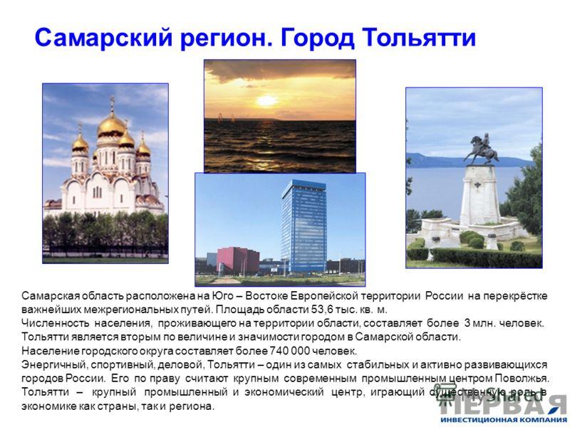 Самарский регион. Город Тольятти Самарская область расположена на Юго – Востоке Европейской территории России на перекрёстке важнейших межрегиональных путей. Площадь области 53,6 тыс. кв. м. Численность населения, проживающего на территории области,