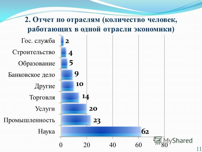 2. Отчет по отраслям (количество человек, работающих в одной отрасли экономики) 11