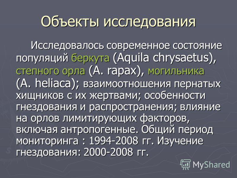 Объекты исследования Исследовалось современное состояние популяций беркута (Aquila chrysaetus), степного орла (A. rapax), могильника (A. heliaca); взаимоотношения пернатых хищников с их жертвами; особенности гнездования и распространения; влияние на