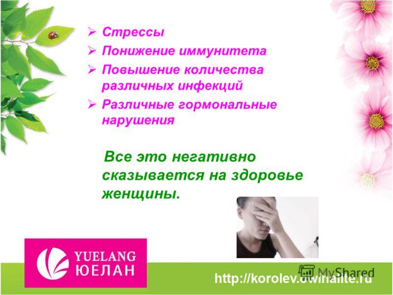Стрессы Понижение иммунитета Повышение количества различных инфекций Различные гормональные нарушения Все это негативно сказывается на здоровье женщины.