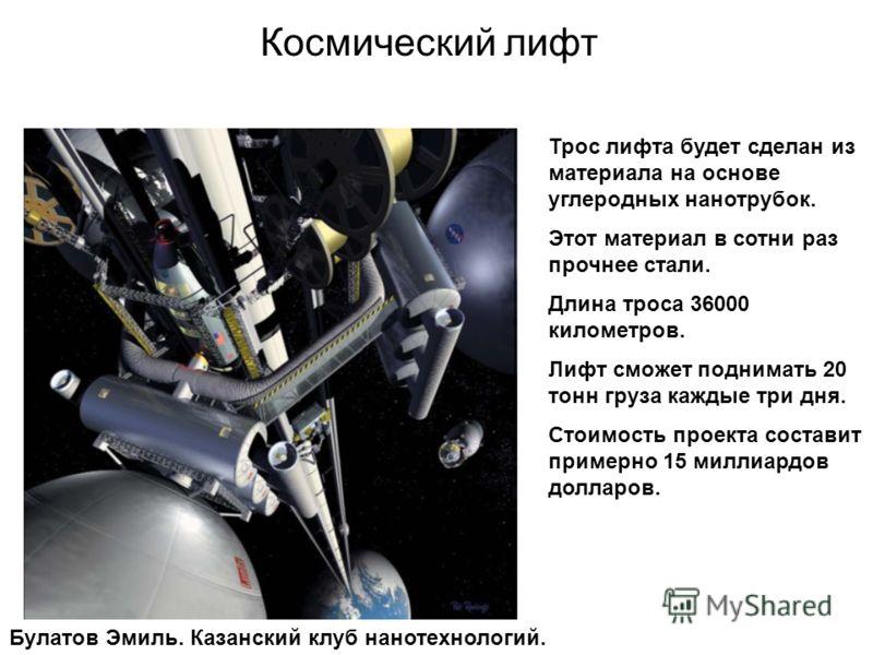 Космический лифт Трос лифта будет сделан из материала на основе углеродных нанотрубок. Этот материал в сотни раз прочнее стали. Длина троса 36000 километров. Лифт сможет поднимать 20 тонн груза каждые три дня. Стоимость проекта составит примерно 15 м