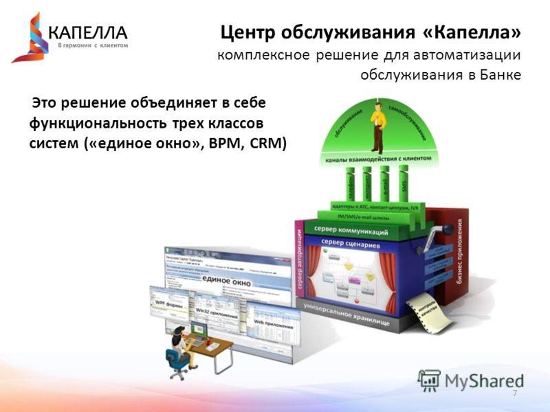 7 Центр обслуживания «Капелла» комплексное решение для автоматизации обслуживания в Банке Это решение объединяет в себе функциональность трех классов систем («единое окно», BPM, CRM)