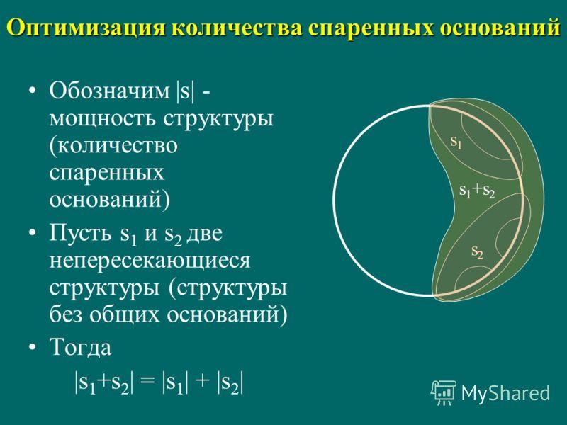 Оптимизация количества спаренных оснований Обозначим |s| - мощность структуры (количество спаренных оснований) Пусть s 1 и s 2 две непересекающиеся структуры (структуры без общих оснований) Тогда |s 1 +s 2 | = |s 1 | + |s 2 | s2s2 s1s1 s 1 +s 2