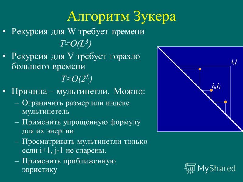 Алгоритм Зукера Рекурсия для W требует времени TO(L 3 ) Рекурсия для V требует гораздо большего времени TO(2 L ) Причина – мультипетли. Можно: –Ограничить размер или индекс мультипетель –Применить упрощенную формулу для их энергии –Просматривать муль