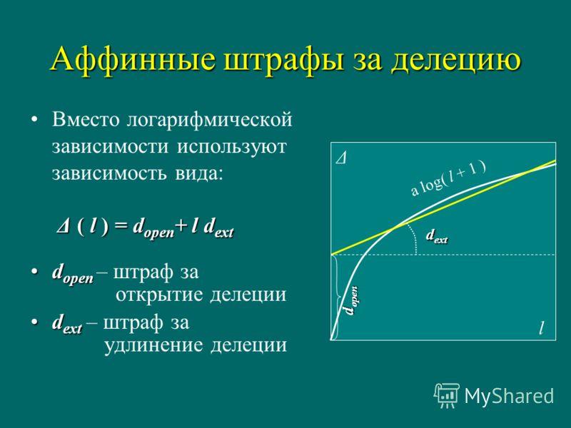 Аффинные штрафы за делецию Δ ( l ) = d open + l d extВместо логарифмической зависимости используют зависимость вида: Δ ( l ) = d open + l d ext d opend open – штраф за открытие делеции d extd ext – штраф за удлинение делеции Δ l d open d ext a log( l