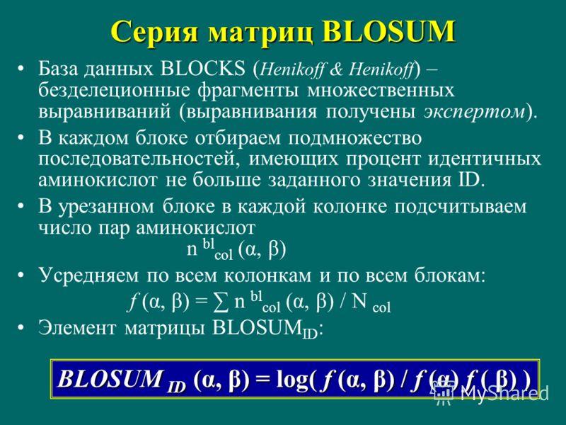 Серия матриц BLOSUM База данных BLOCKS ( Henikoff & Henikoff ) – безделеционные фрагменты множественных выравниваний (выравнивания получены экспертом). В каждом блоке отбираем подмножество последовательностей, имеющих процент идентичных аминокислот н