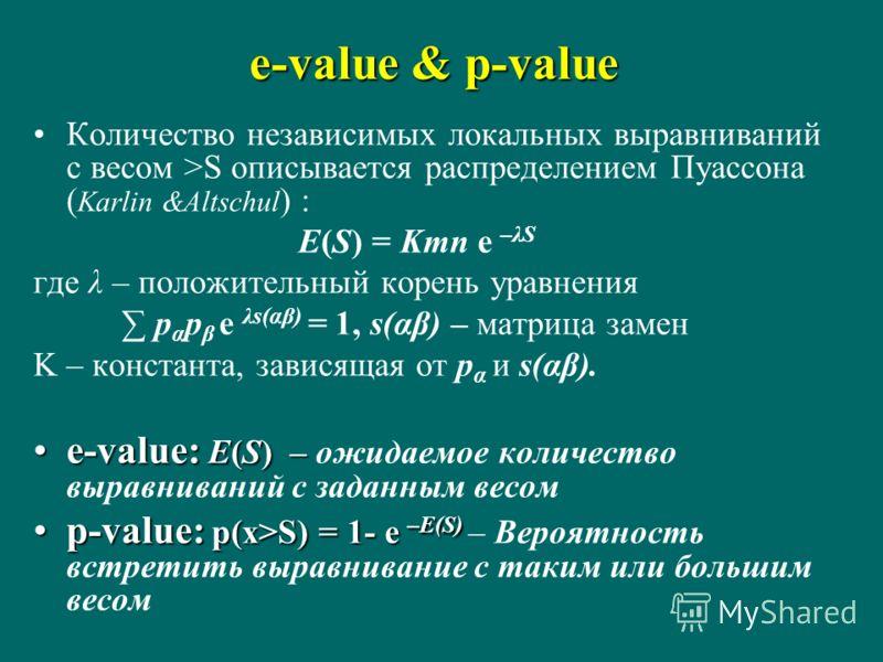 e-value & p-value Количество независимых локальных выравниваний с весом >S описывается распределением Пуассона ( Karlin &Altschul ) : E(S) = Kmn e –λS где λ – положительный корень уравнения p α p β e λs(αβ) = 1, s(αβ) – матрица замен K – константа, з