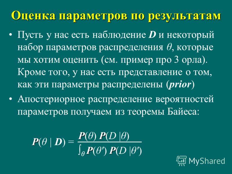 Оценка параметров по результатам Пусть у нас есть наблюдение D и некоторый набор параметров распределения θ, которые мы хотим оценить (см. пример про 3 орла). Кроме того, у нас есть представление о том, как эти параметры распределены (prior) Апостери