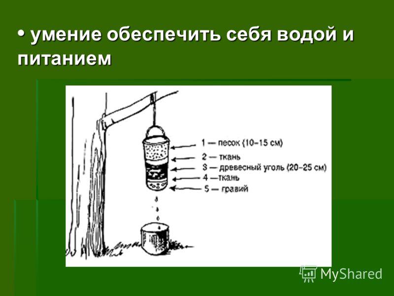 умение обеспечить себя водой и питанием умение обеспечить себя водой и питанием