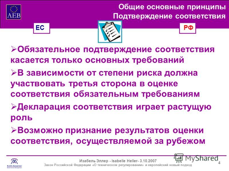 Изабель Эллер - Isabelle Heller- 3.10.2007 Закон Российской Федерации «О техническом регулировании» и европейский новый подход Подтверждение соответствия Обязательное подтверждение соответствия касается только основных требований В зависимости от сте