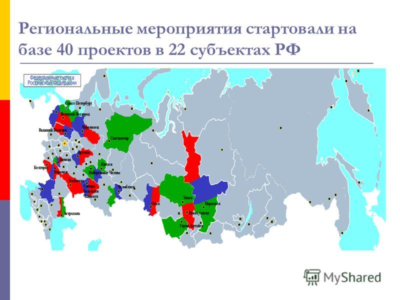 Региональные мероприятия стартовали на базе 40 проектов в 22 субъектах РФ