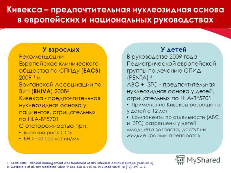 Кивекса – предпочтительная нуклеозидная основа в европейских и национальных руководствах У взрослых Рекомендации Европейское клинического общества по СПИДу ( EACS ) 2009 1 и Британской Ассоциации по ВИЧ ( BHIVA ) 2008 2 Кивекса - предпочтительная нук