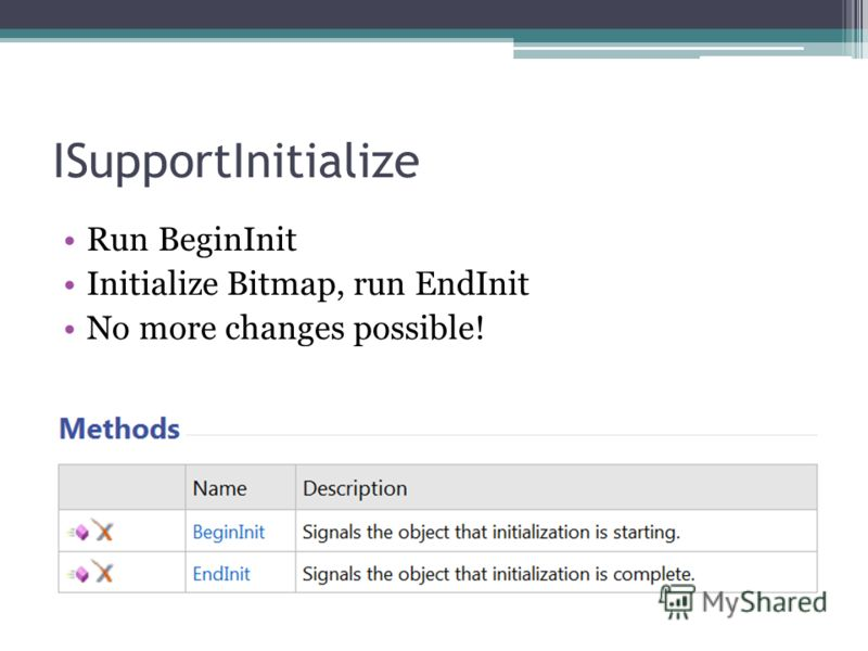 ISupportInitialize Run BeginInit Initialize Bitmap, run EndInit No more changes possible!