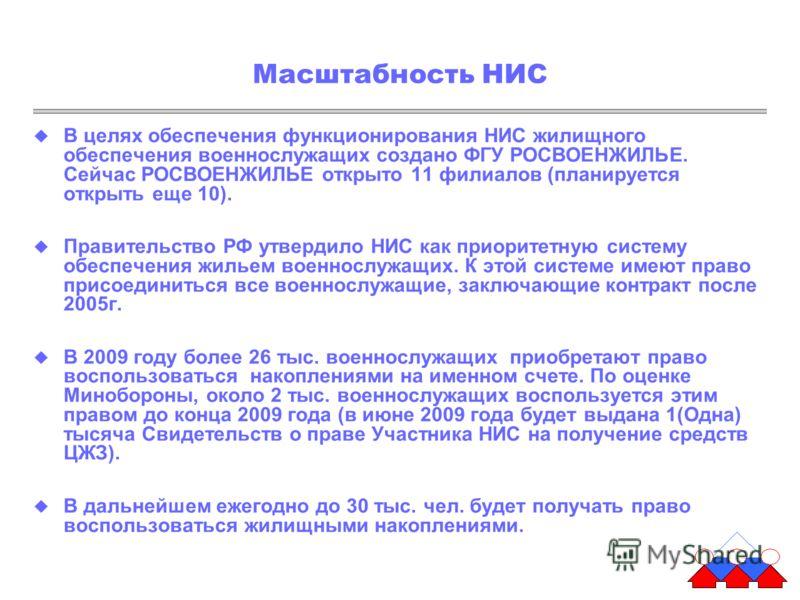 Масштабность НИС В целях обеспечения функционирования НИС жилищного обеспечения военнослужащих создано ФГУ РОСВОЕНЖИЛЬЕ. Сейчас РОСВОЕНЖИЛЬЕ открыто 11 филиалов (планируется открыть еще 10). Правительство РФ утвердило НИС как приоритетную систему обе